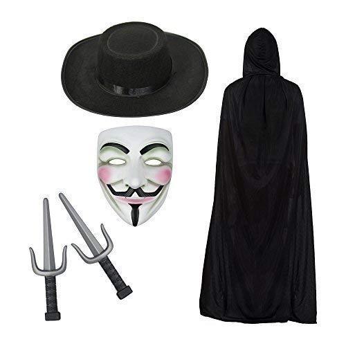 Anonymous Máscara, Capa Con Capucha, sombrero y SAIs KNIVES DISFRAZ SET