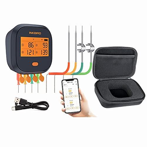 Inkbird WiFi Grill Fleischthermometer zum Räuchern Kochen Küche mit 4 Sonden & robuster Tasche   Digital Wireless Remote WiFi BBQ Thermometer mit Timer, Kalibrierung, wiederaufladbarer Akku, Grafik