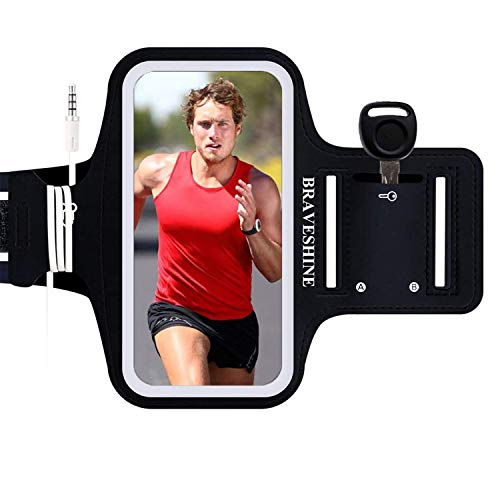 BRAVESHINE Phone Holder Armband Running Case for iPhone 12 Pro 11 X XR XS MAX 8 Plus SE Samsung Galaxy S10e S10 S9 S8 Plus A50 Note10 9 LG G7 ThinQ LG Stylo 5 Moto Pixel XL Oneplus 7 6T - 6.5 Inch