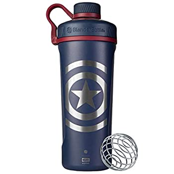 BlenderBottle Marvel Radian Shaker Cup Insulated Stainless Steel Water Bottle with Wire Whisk 26-Ounce Captain America Shield