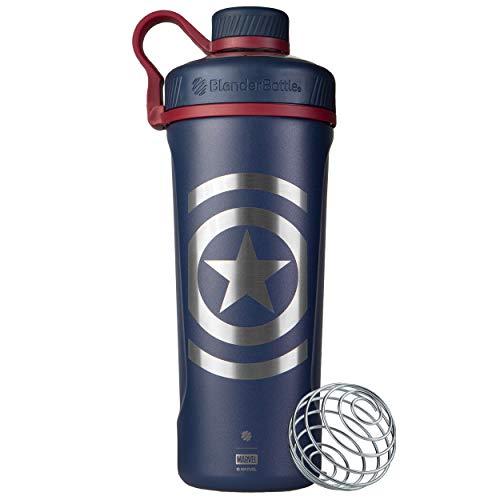 BlenderBottle Radian Insulated Stainless Steel Shaker Bottle, 26oz, Captain America Shield