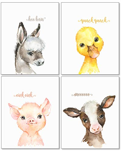 Confetti Fox Baby Farm Animals Nursery Decor Wall Art - 8x10 Unframed Set of 4 Prints - Cow Pig Donkey Duck