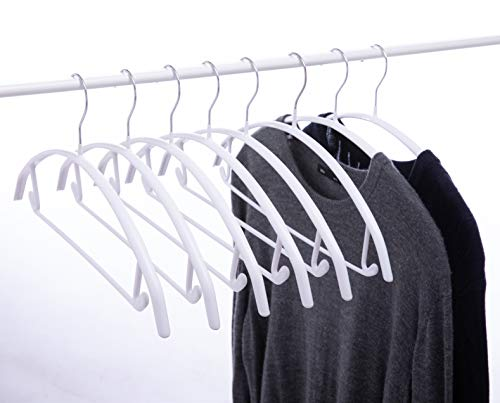 Cocomaya 165 Inch Pack of 20 White No Shoulder Bumps Non-Slip Rubber Coating Contour Metal No Bumps Hanger Sweater Hanger Suit Hanger with Pants Bar White 20