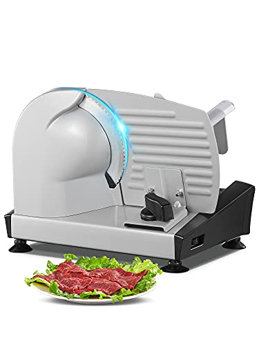 Brotschneidemaschine Elektrisch, Allesschneider & Wurstschneidemaschine mit 19cm Edelstahlklingen, Verstellbare Küchenmaschine 0 bis 15mm für Fleisch/Brot/Obst/Wurst, 150 W, Silber