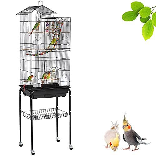 Yaheetech XL Vogelkäfig Vogelbauer Vogelvoliere Wellensittichvogelkäfig kanarienvögelkäfig mit Ständer 46 x 35,5 x 158,5 cm,360°drehbaren Rollen