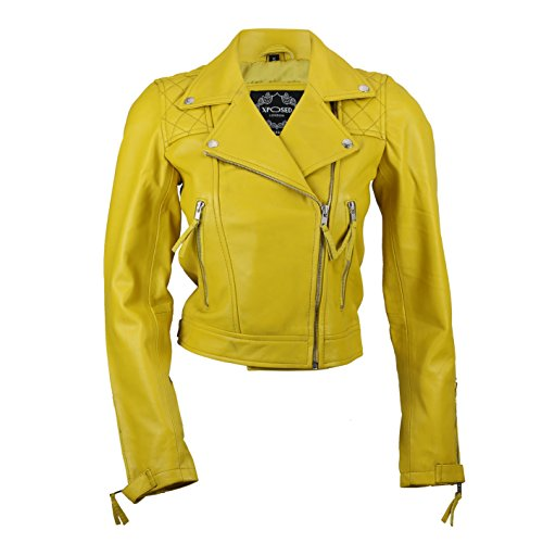 Xposed Damen Echtleder Slim Fit Soft Zip Biker Style Jacke in Schwarz Rot - 36-44 Gr. 54, gelb
