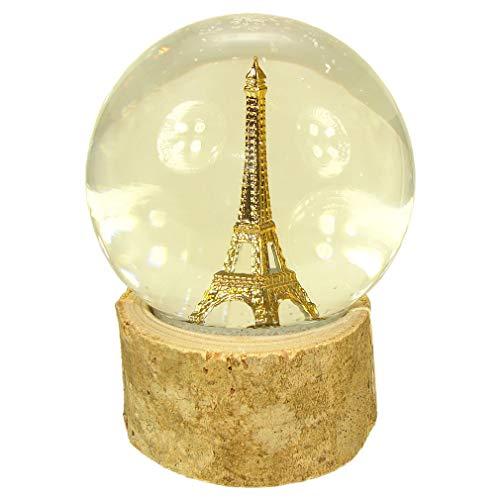 Souvenirs of France - Bola de nieve de cristal con diseño de torre Eiffel en madera natural, color beige
