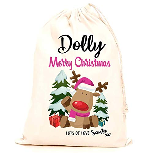 Treat Me Suite Dolly personalised name Christmas santa sack, stocking printed with a blue reindeer (75x50cm) 100% Cotton Large. Children, Kids, making it the perfect keepsake xmas gift/present.