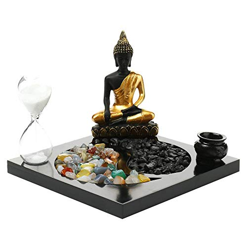 Tmore Sitting Buddha Candle Holders Zen Garden Tabletop Vintage Incense Holders White Sand and Natural Stone Rattan Incense Gift Set (with Hourglass)
