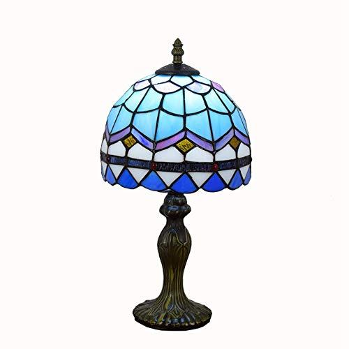 LJYY Lámparas de Mesa de Estilo Barroco Azul Que iluminan Pantalla de Cristal de Colores de 8 Pulgadas Base Antigua para Sala de Estar Dormitorio lámpara de Escritorio de Noche