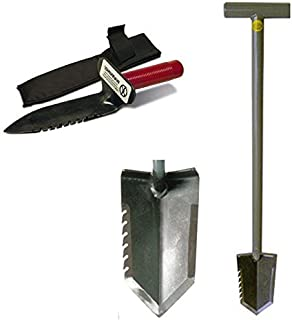 Lesche T-Handle Serrated Shovel Digging Tool Left Side Serrated for Gardening and Metal Detecting