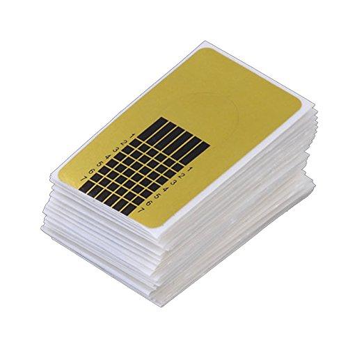 Faleto 100/500 Stücke Professional selbstklebende Square Schablonen Modellier für die künstliche Fingernagel-Modellage, Gold (100 Stücke)
