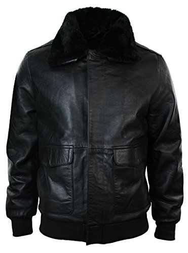 Infinity Mens Real Fur Collar Leather Bomber Pilot Flying Jacket A2 Black XL