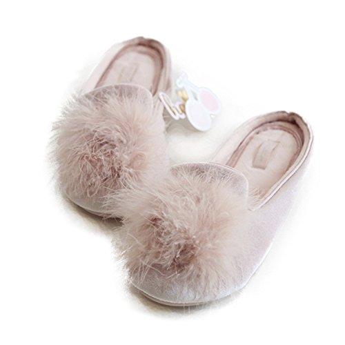 HALLUCI Women's Cozy Velvet Memory Foam House Slippers Non Slip Soles (5-6 M US, Pink)