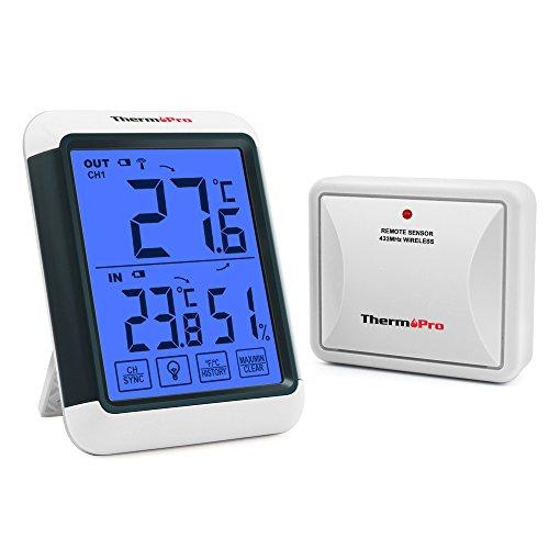 ThermoPro TP65S Digitale draadloze thermometer, thermo-hygrometer, draadloze thermometer voor binnen en buiten, controle van de woonklimaat, klimaatmonitor met oplaadbare buitensensor