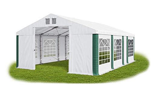 Das Company Partyzelt 5x7m wasserdicht weiß-grün Zelt Dachplane modular 580g/m² PVC ganzjährig stahlseile Gartenzelt Winter Plus MS/SD