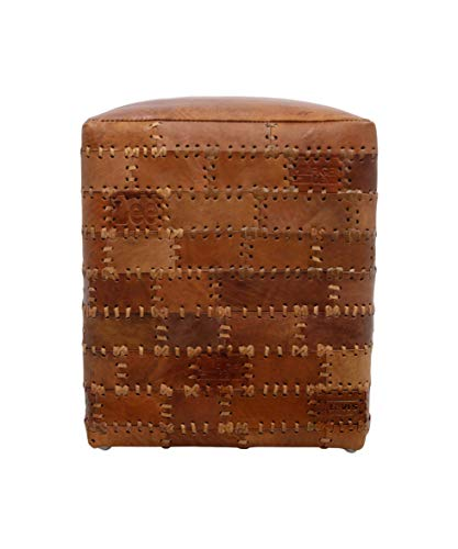 HSM Collection zitzak, leer, cognac, 35 x 35 x 45 cm