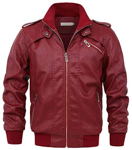 chouyatou Men's Casual Full Zip Lightweight Moto Pu Leather Quilted Bomber Jacket Epaulet (Medium, Dark Red)