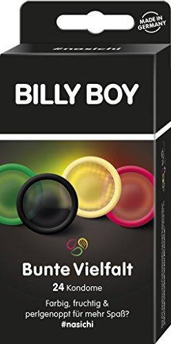 Billy Boy Kondome Mix-Sortiment Pack, Farbige, Extra Feucht und Perlgenoppte, 24er Stück