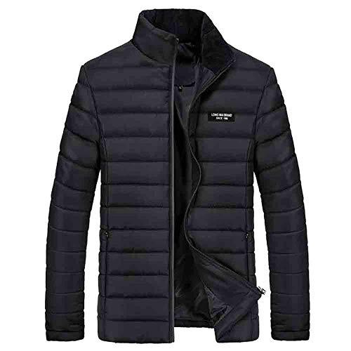 FRAUIT Heren effen katoen donsjas herfst winter winterjas gewatteerde jas sweatjas buiten warmtejack jasstandaard rits warm gewatteerde outwear mantel M-4XL