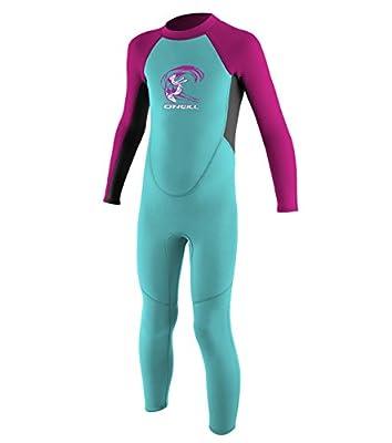 O'Neill Toddler Reactor-2 2mm Back Zip Full Wetsuit, Light Aqua/Graphite/Berry, 1
