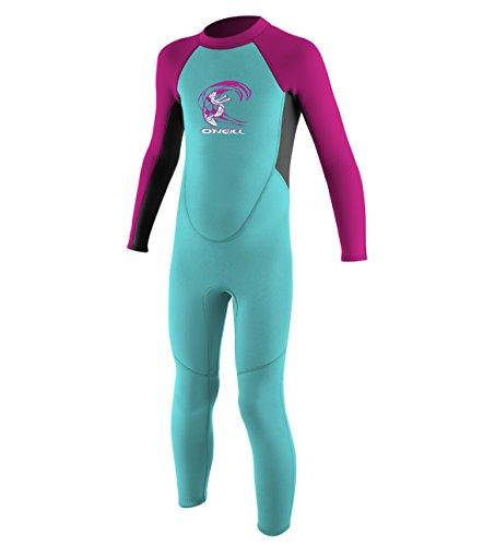 O'Neill Toddler Reactor-2 2mm Back Zip Full Wetsuit, Light Aqua/Graphite/Berry, 3
