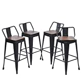 Yongqiang 26' Swivel Metal Bar Stools with Backs Counter Height Barstools Set of 4 Industrial Dining Bar Chairs with Wooden Seat Matte Black