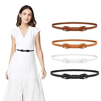 WERFORU Women PU Leather Skinny Adjustable Belt for Dress Fashion Thin Waist Belt(Black+Coffee+Brown+White, Waist Size 26-31 Inches)