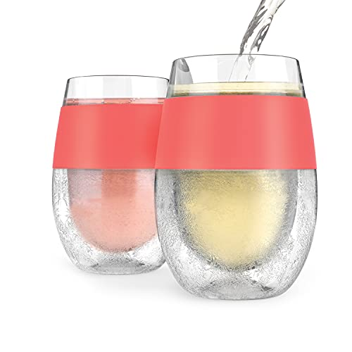 HOST Wine Freeze Cooling Cup, Set of 2, Double Wall Insulated Freezable Drink Chilling Tumbler with Freezing Gel, Glasses for Red and White Wine, 8.5 oz, Coral