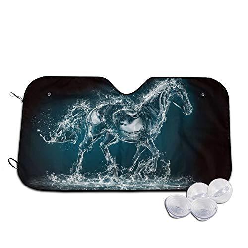 Xhayo Water Art - Cubierta protectora para parabrisas de coche, diseño de caballo 3D, resistente a los rayos UV, polvo, agua, ajuste perfecto para coches, SUV, todo el año, verano, invierno