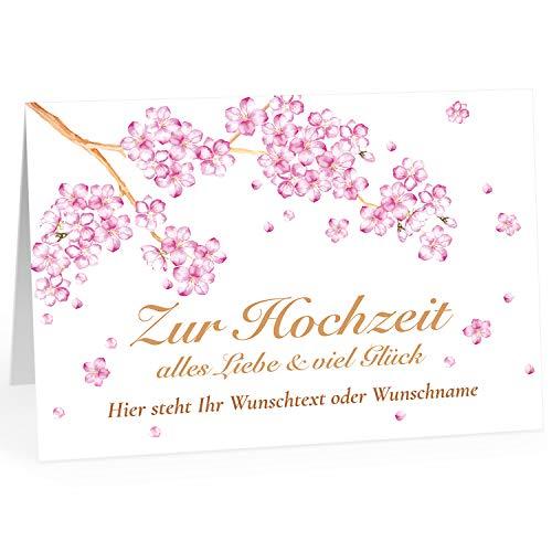 Große Glückwunschkarte zur Hochzeit XXL (A4) PERSONALISIERT - Schön Kirschblüte Blumen - mit Umschlag/Edle Design Klappkarte/Hochzeitskarte/Glückwunsch/Ehepaar/Extra groß für viele Unterschriften