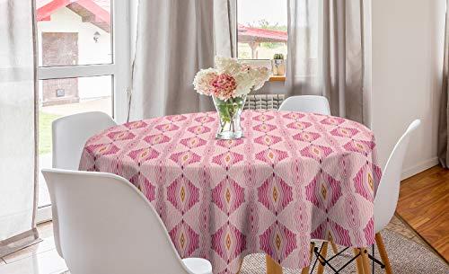 ABAKUHAUS Roze Rond Tafelkleed, Golvende ruit met dunne lijnen, Decoratie voor Eetkamer Keuken, 150 cm, Pink Lichtroze