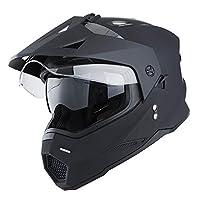 1Storm Dual Sport Motorcycle Motocross Off Road Full Face Helmet Dual Visor Matt Black, Size XL (59-60 cm 23.2/23.4 Inch)
