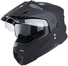 1Storm Dual Sport Motorcycle Motocross Off Road Full Face Helmet Dual Visor Matt Black, Size XXL