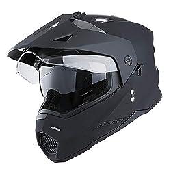 commercial 1 Storm Dual Sport Motorcycle Motocross Offroad Double Visor Helmet, Matte Black, Size XXL dual sport helmets