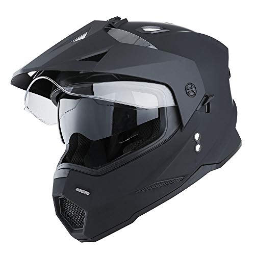 1Storm Dual Sport Motorcycle Motocross Off Road Full Face Helmet Dual Visor Matt Black, Size L