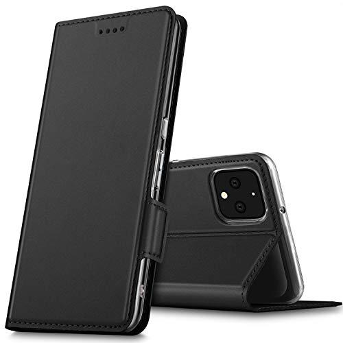GEEMAI für Google Pixel 4 XL Hülle, handyhüllen Flip Hülle Wallet Stylish mit Standfunktion & Magnetisch PU Tasche Schutzhülle passt für Google Pixel 4 XL Smartphone, Schwarz