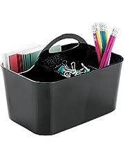 mDesign - Bureau-organizer - opbergbak/kantooraccessoire - voor kantoorbenodigdheden als pennen, markeerstiften, scharen en meer - voor productiviteit/met handvatten - zwart