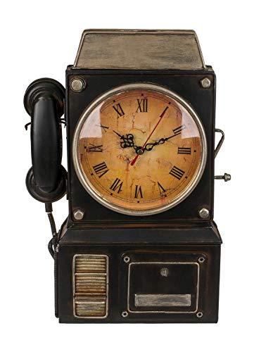 Out of the Blue 144348 - Schlüsselkasten aus Metall, in Form eines alten Telefons, mit integrierter Uhr, ca. 26 x 35,5 cm, batteriebetrieben