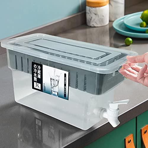 Depósito de agua fría para refrigerador de bebida con material PP seguro y resistente al agua fría y caliente translúcido, gran capacidad, 5 L, para 3 – 6 personas