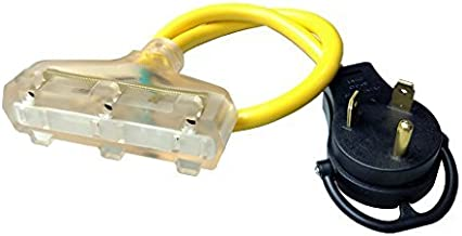 Parkworld 885880 RV 30A to (3) 15A Power Adapter Cord 125V, TT-30P Male with Handle to (3) 5-15R Female with Lighted
