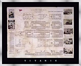Poster Palooza Framed Titanic Deck Plan- 30x24 Inches - Art Print (Stainless Steel Frame)