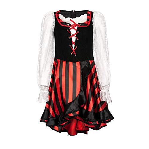 Kostümplanet® Piratenkostüm Mädchen Kinder Piratin Kleid Kinder-Kostüm Pirat Faschingskostüm Piraten-Kostüme Kind Verkleidung Set Seeräuber Größe 140