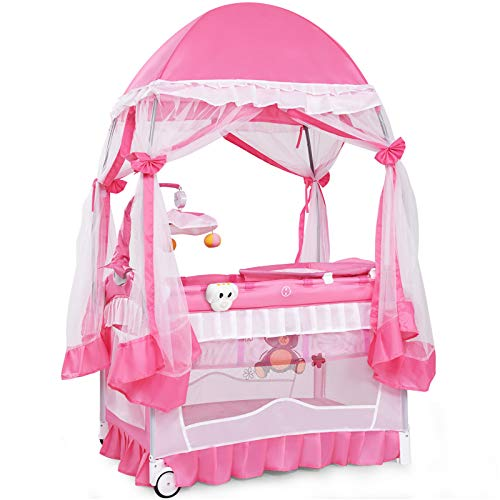 Maxmass 4 in 1 Foldable Baby Travel Cot, Infant Bed Bassinet with Changing Table, Mosquito Net, Toys, Wheels & Travel Bag, Baby Crib Activity Playpen for Boys Girls