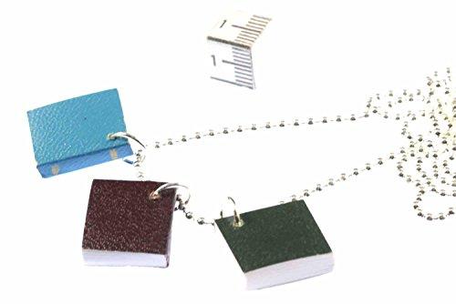 Miniblings Prenota Topo Biblioteca Read Write - 80 cm 3 Libri Pagine Collana Fatto a Mano Gioielli Lunghezza I pendent