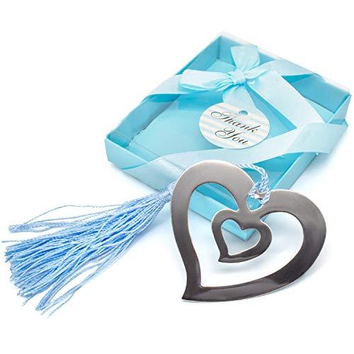 Gleader - Segnalibro d'argento a forma di cuore, regalo da mettere nella calza di Natale, in confezione regalo