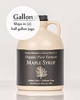 Mansfield Maple Certified Organic Pure Vermont Maple Syrup in Plastic Jug Dark Robust (Vermont B), Gallon (Ships as 2 Half Gallons)