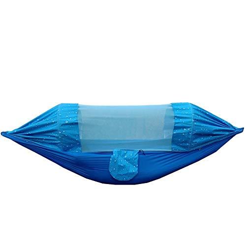 Portable Double Hamak avec Sac De Rangement + Sangle,300kg Capacité de Charge (275x145cm) Motif Bleu Goutte De Pluie Balancoire Interieur pour Randonnée Camping En Plein Air Voyage Aventure Randon