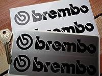 Brembo Unlined Oblong Stickers black & white ブレンボ ステッカー デカール シール 海外限定 150mm x 40mm 2枚セット [並行輸入品]