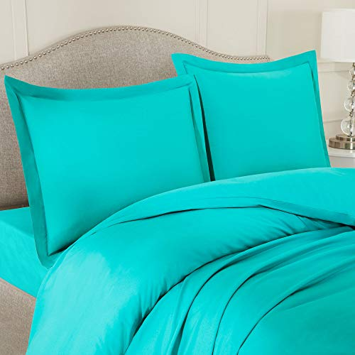 Nestl Bedding Duvet Cover with Fitted Sheet 4 Piece Set - Soft Double Brushed Microfiber Hotel Collection - Comforter Cover with Button Closure, Fitted Sheet, 2 Pillow Shams - King - Teal